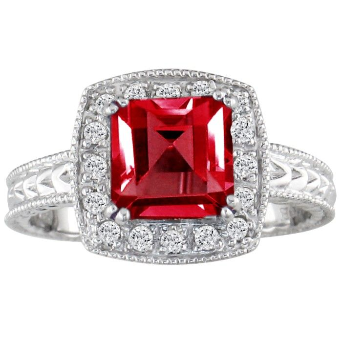 Garnet and 1/5ct Engraved Diamond Ring in 10k White Gold