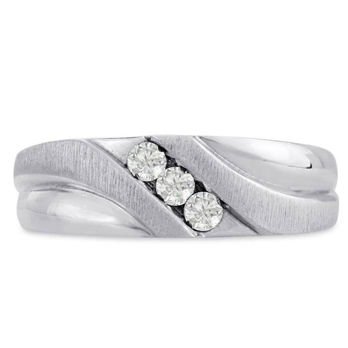 Mens 1/4 Carat Diamond Wedding Band in 14K White Gold, I-J-K, I1-I2, 7.34mm Wide by SuperJeweler