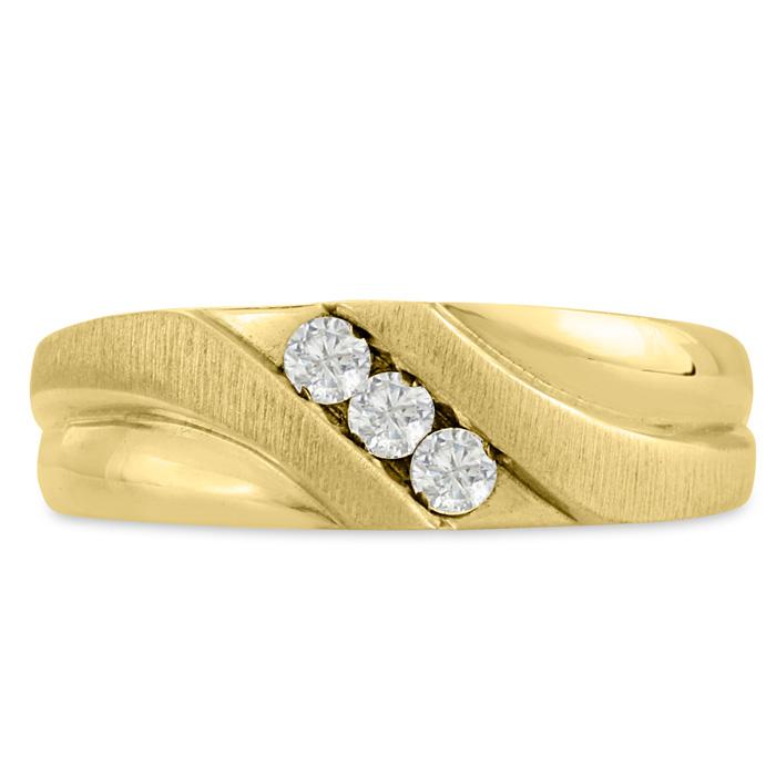 Mens 1/4 Carat Diamond Wedding Band in 14K Yellow Gold, G-H, I2-I