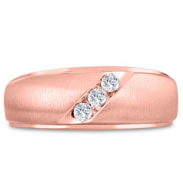 Mens 1/10 Carat Diamond Wedding Band in 10K Rose Gold, G-H, I2-I3