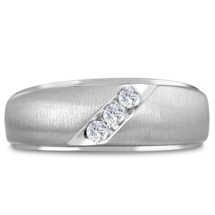 Mens 1/10 Carat Diamond Wedding Band in 14K White Gold, I-J-K, I1