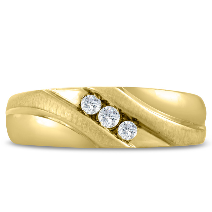 Mens 1/10 Carat Diamond Wedding Band in 14K Yellow Gold, G-H, I2-