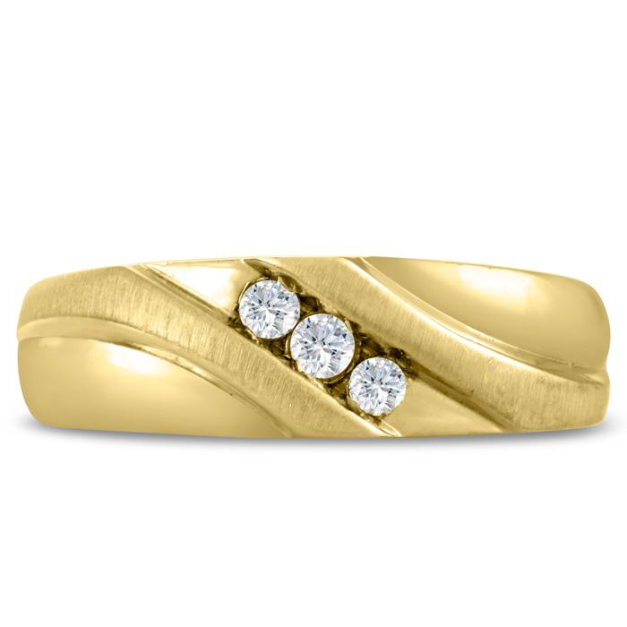 Mens 1/10 Carat Diamond Wedding Band in 14K Yellow Gold, I-J-K, I1-I2, 7.09mm Wide by SuperJeweler