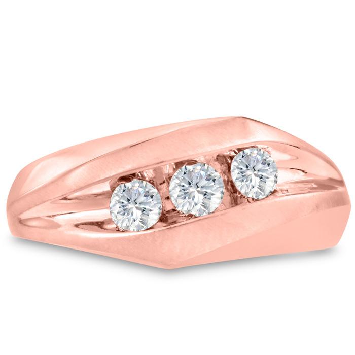 Mens 1/2 Carat Diamond Wedding Band in 10K Rose Gold, I-J-K, I1-I