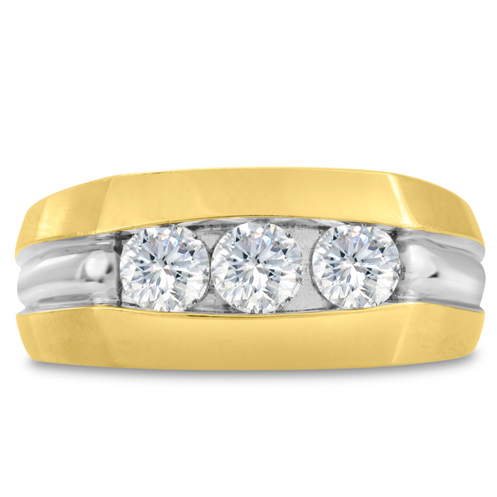 Mens 3/4 Carat Diamond Wedding Band in 14K Two-Tone Gold, G-H, I2