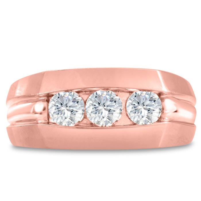 Mens 3/4 Carat Diamond Wedding Band in 14K Rose Gold, G-H, I2-I3,