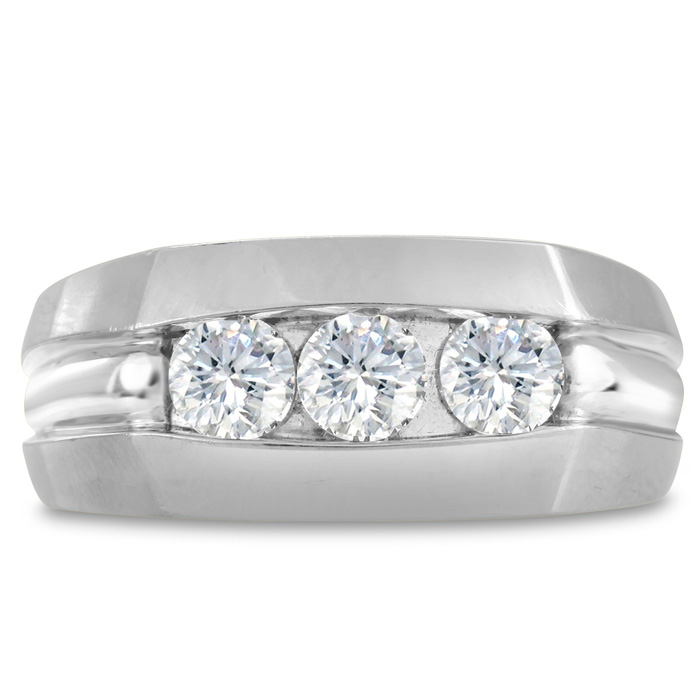 Mens 3/4 Carat Diamond Wedding Band in 14K White Gold, I-J-K, I1-
