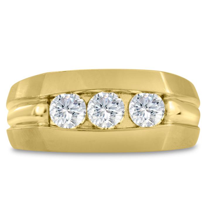 Mens 3/4 Carat Diamond Wedding Band in 14K Yellow Gold, G-H, I2-I