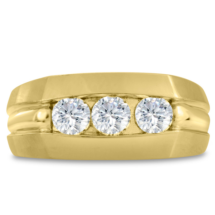 Mens 3/4 Carat Diamond Wedding Band in 14K Yellow Gold, I-J-K, I1
