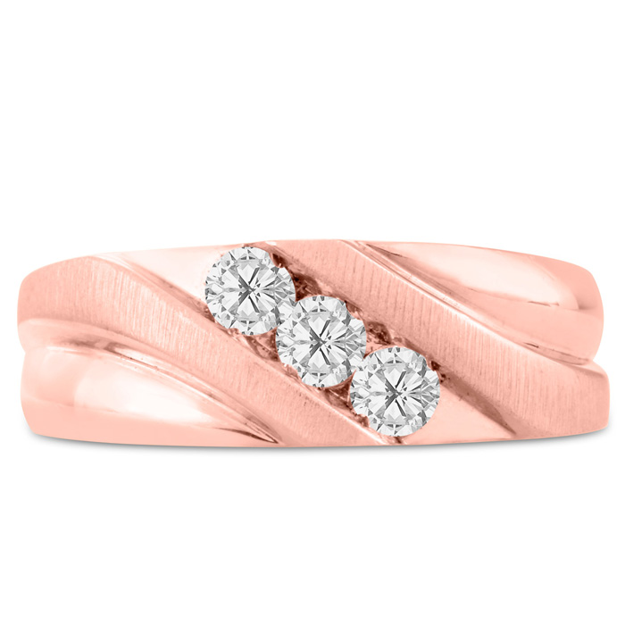 Mens 1/2 Carat Diamond Wedding Band in 10K Rose Gold, I-J-K, I1-I