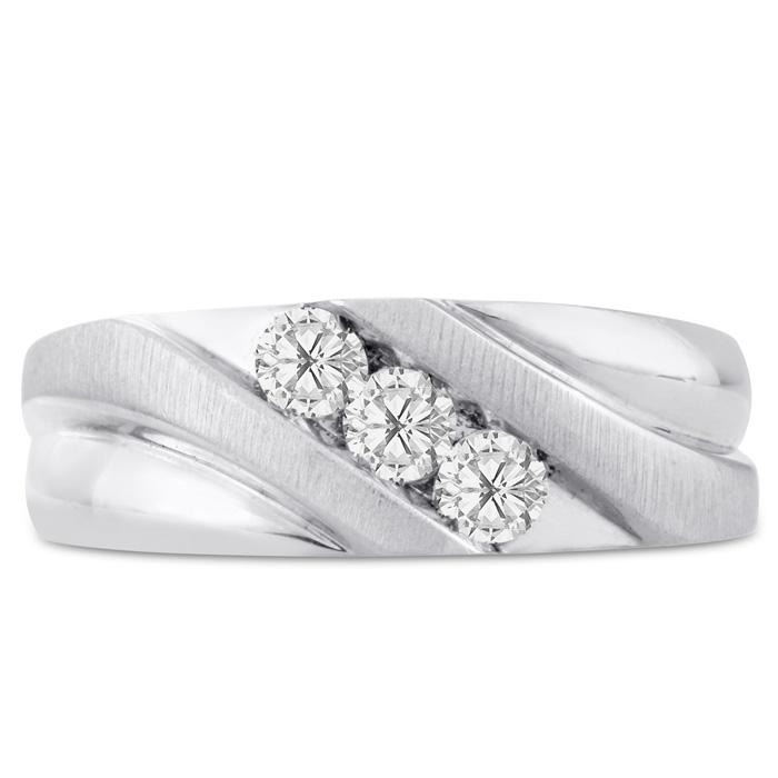 Mens 1/2 Carat Diamond Wedding Band in 10K White Gold, I-J-K, I1-I2, 8.12mm Wide by SuperJeweler