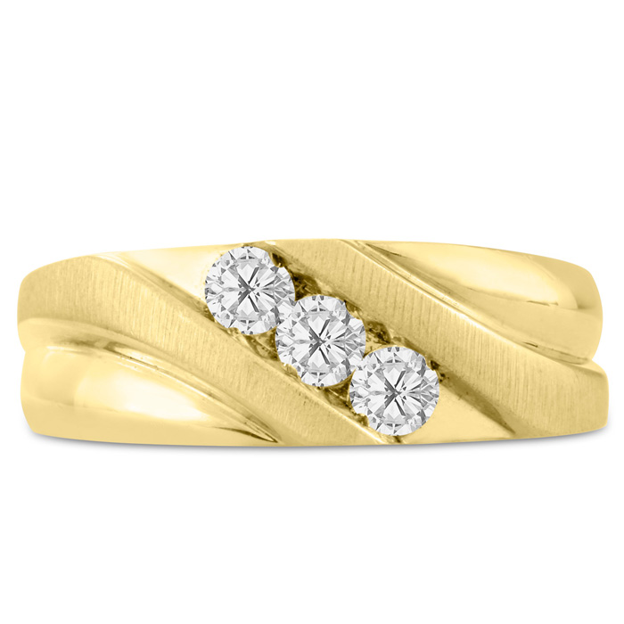 Mens 1/2 Carat Diamond Wedding Band in 10K Yellow Gold, G-H, I2-I3, 8.12mm Wide by SuperJeweler