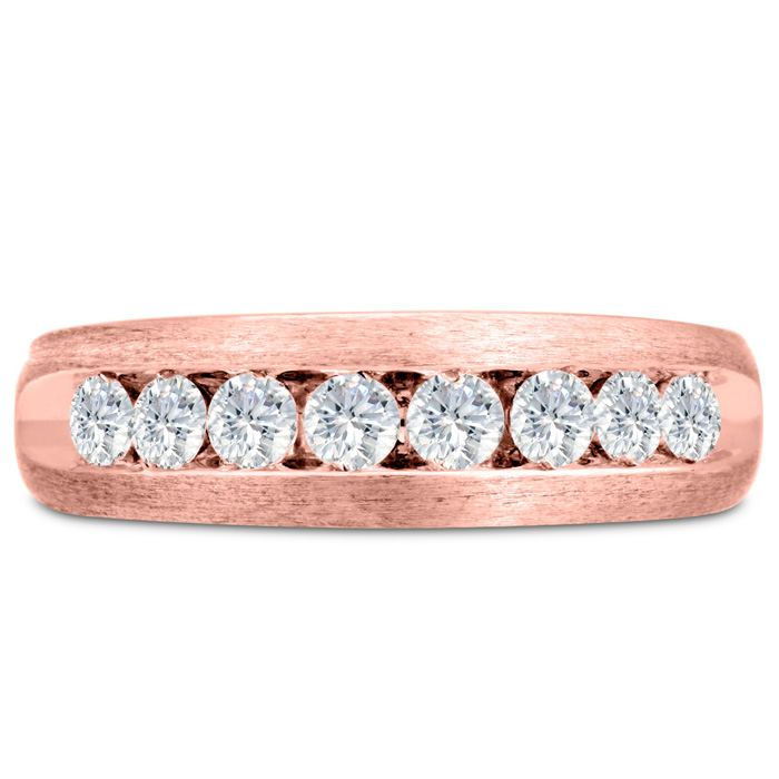 Mens 3/4 Carat Diamond Wedding Band in 10K Rose Gold, G-H, I2-I3,