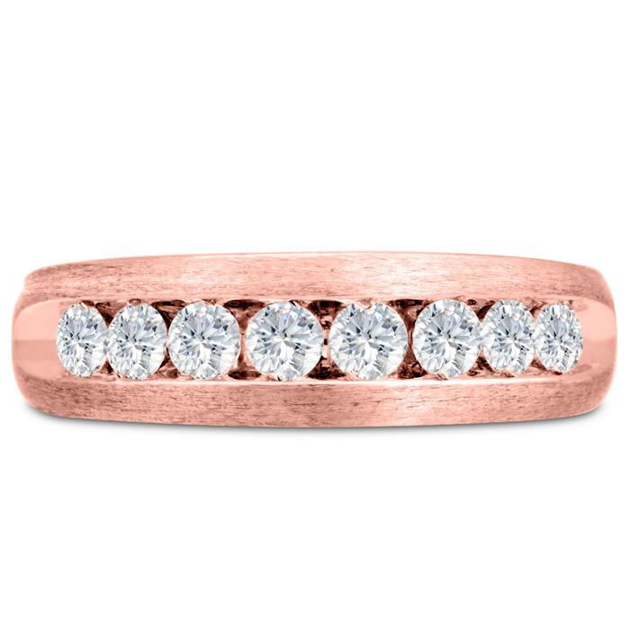 Mens 3/4 Carat Diamond Wedding Band in 14K Rose Gold, G-H, I2-I3, 6.78mm Wide by SuperJeweler