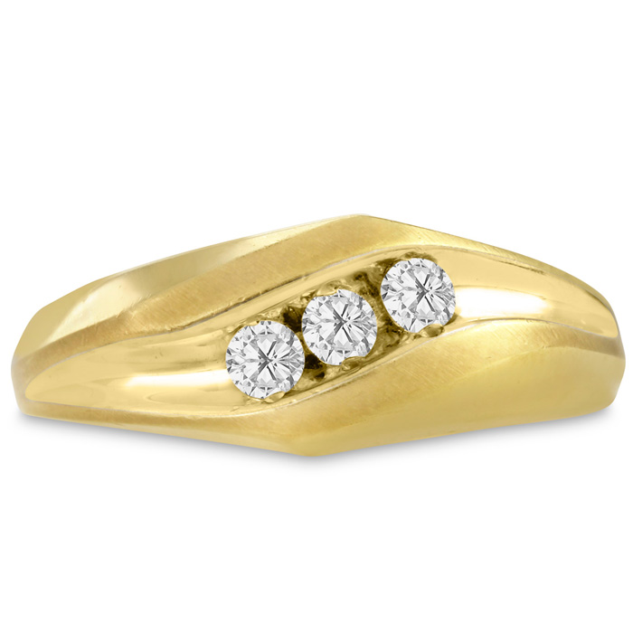 Mens 1/4 Carat Diamond Wedding Band in 10K Yellow Gold, I-J-K, I1-I2, 8.60mm Wide by SuperJeweler