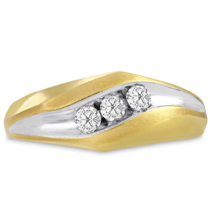 Mens 1/4 Carat Diamond Wedding Band in 14K Two-Tone Gold, I-J-K, I1-I2, 8.60mm Wide by SuperJeweler
