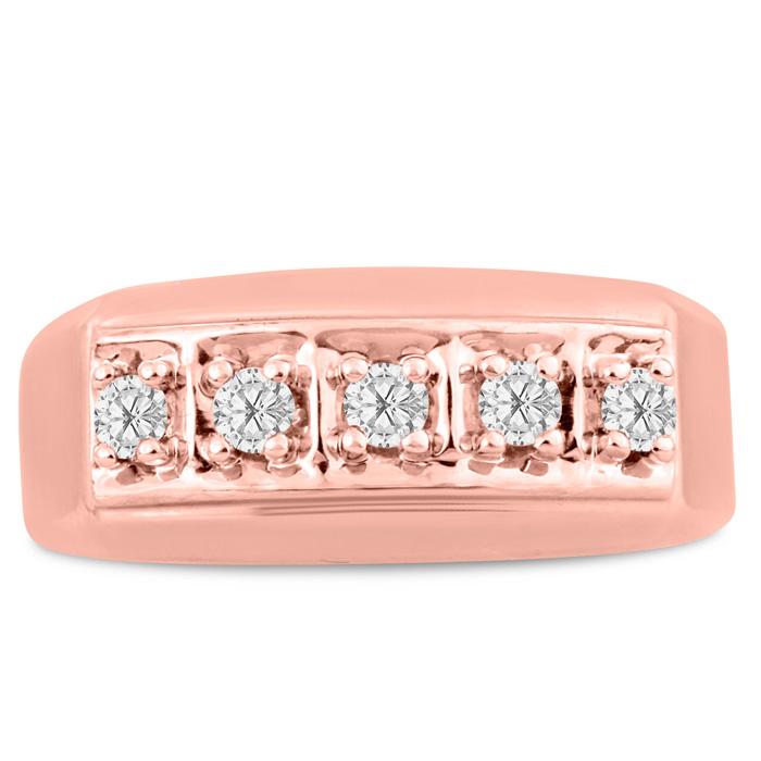 Mens 1/4 Carat Diamond Wedding Band in 10K Rose Gold, I-J-K, I1-I2, 9.23mm Wide by SuperJeweler