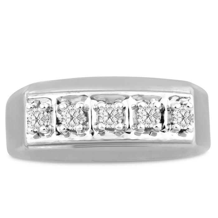 Mens 1/4 Carat Diamond Wedding Band in 14K White Gold, G-H, I2-I3