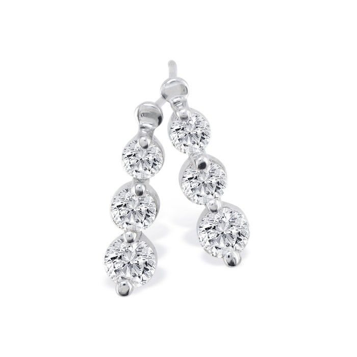 1/4 Carat Three Diamond Drop Style Diamond Earrings in 14k White
