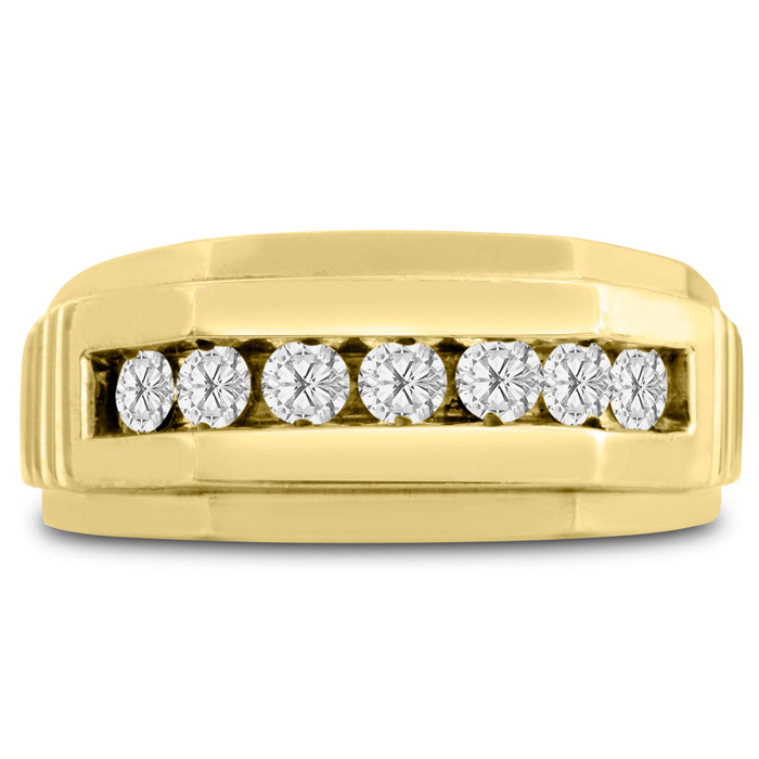 Mens 1/2 Carat Diamond Wedding Band in 10K Yellow Gold, G-H, I2-I3, 9.91mm Wide by SuperJeweler
