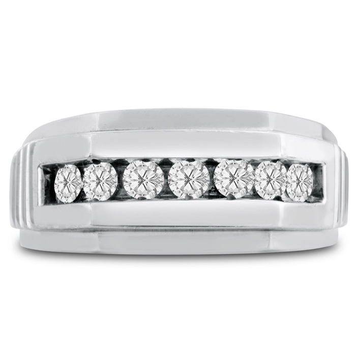Mens 1/2 Carat Diamond Wedding Band in 14K White Gold, I-J-K, I1-I2, 9.91mm Wide by SuperJeweler