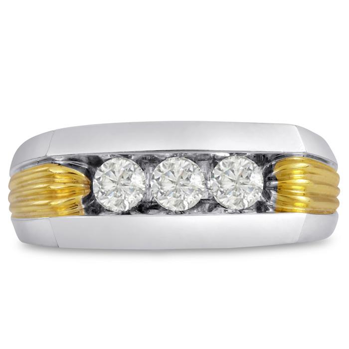 Mens 1/2 Carat Diamond Wedding Band in 10K Two-Tone Gold, G-H, I2