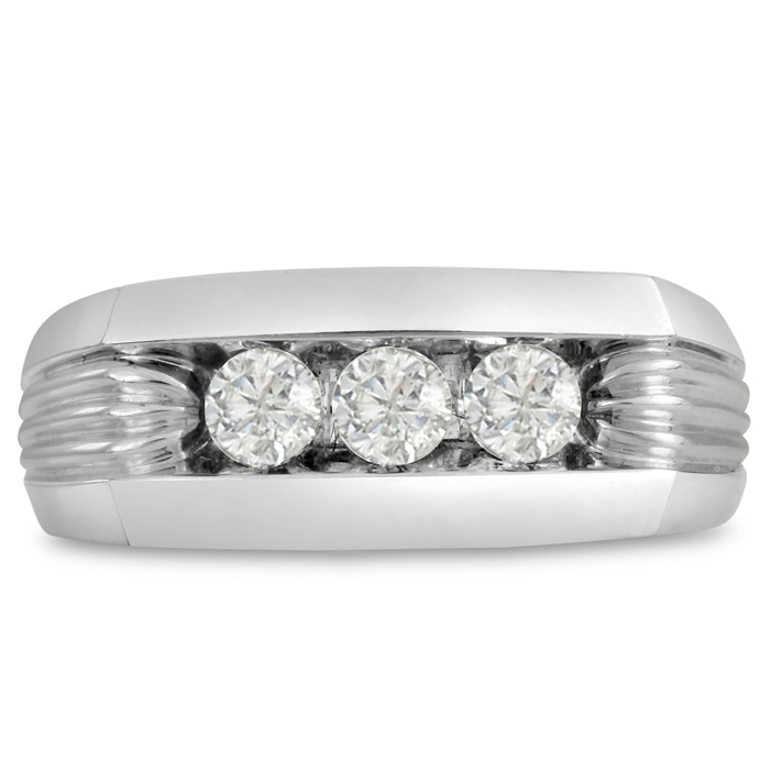 Mens 1/2 Carat Diamond Wedding Band in 14K White Gold, I-J-K, I1-I2, 9.01mm Wide by SuperJeweler