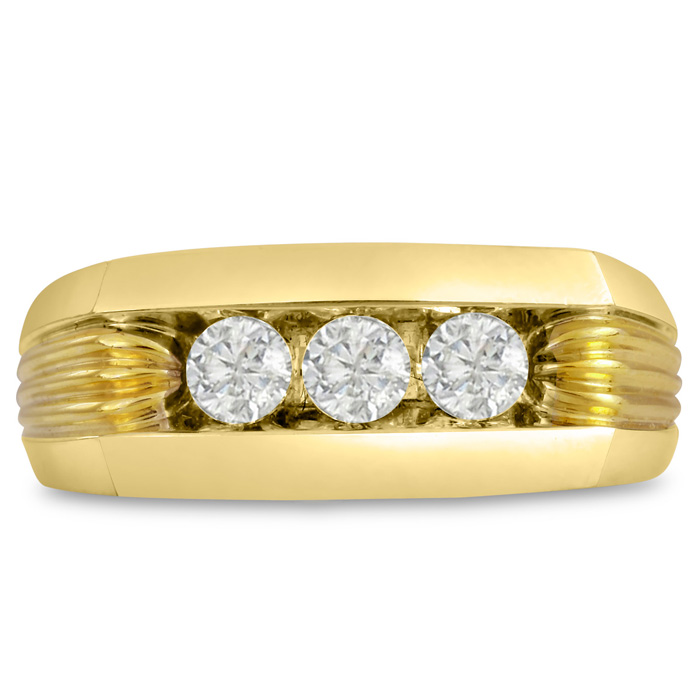 Mens 1/2 Carat Diamond Wedding Band in 14K Yellow Gold, I-J-K, I1-I2, 9.01mm Wide by SuperJeweler