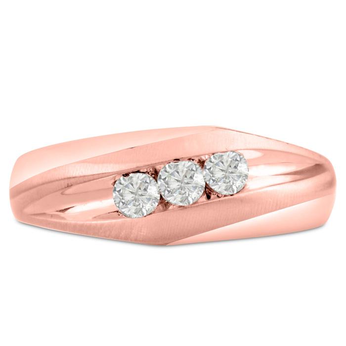 Mens 1/3 Carat Diamond Wedding Band in 10K Rose Gold, G-H, I2-I3,