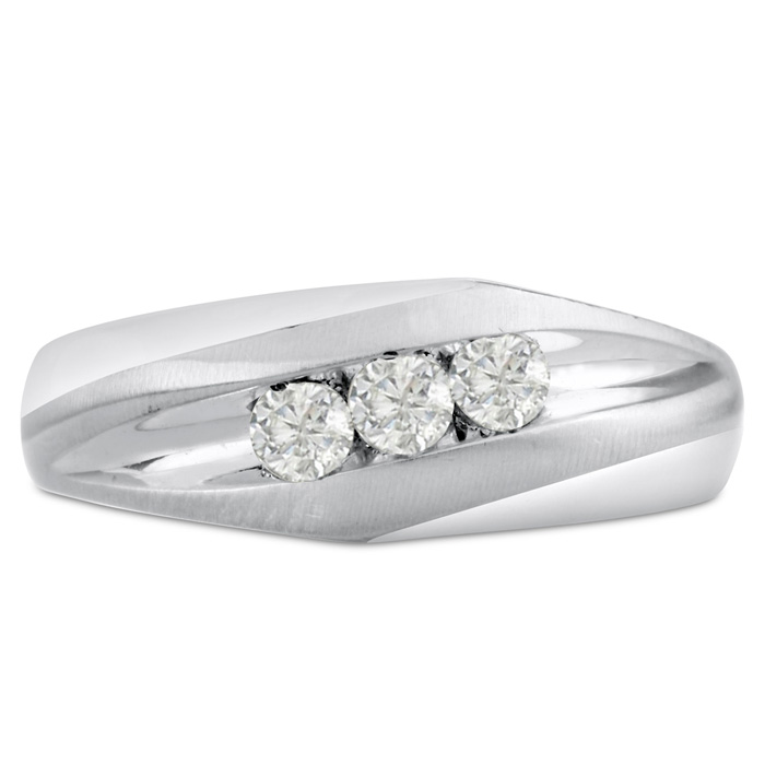 Mens 1/3 Carat Diamond Wedding Band in 10K White Gold, I-J-K, I1-I2, 7.95mm Wide by SuperJeweler