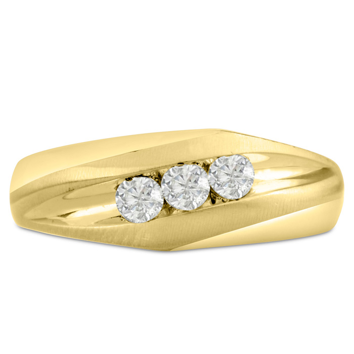 Mens 1/3 Carat Diamond Wedding Band in 10K Yellow Gold, G-H, I2-I