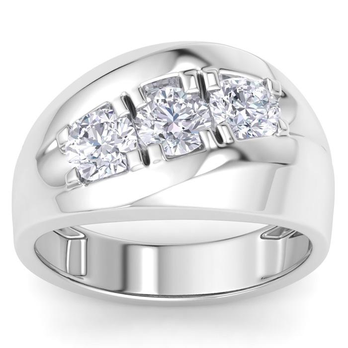 Mens 1 Carat Diamond Wedding Band in 10K White Gold, I-J-K, I1-I2, 9.85mm Wide by SuperJeweler