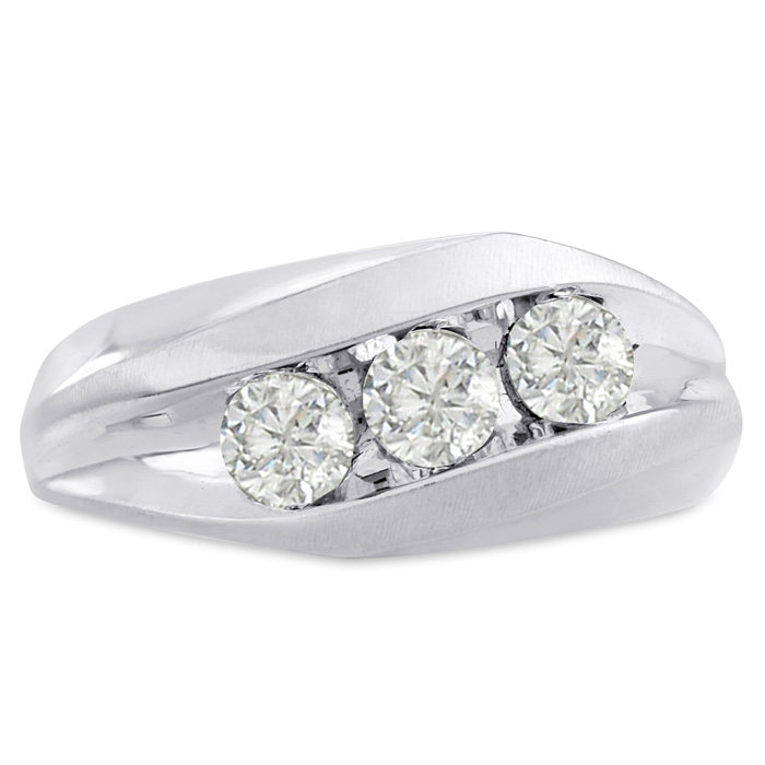 Mens 1 Carat Diamond Wedding Band in 14K White Gold, G-H, I2-I3,