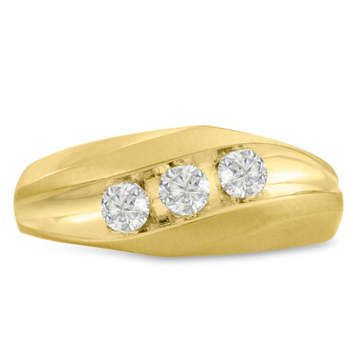 Mens 3/4 Carat Diamond Wedding Band in 10K Yellow Gold, I-J-K, I1