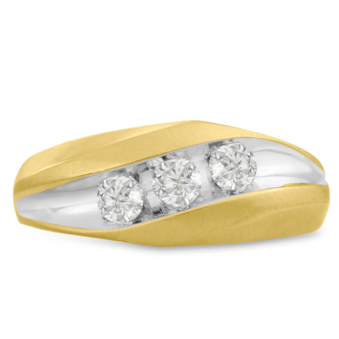 Mens 3/4 Carat Diamond Wedding Band in 14K Two-Tone Gold, I-J-K,