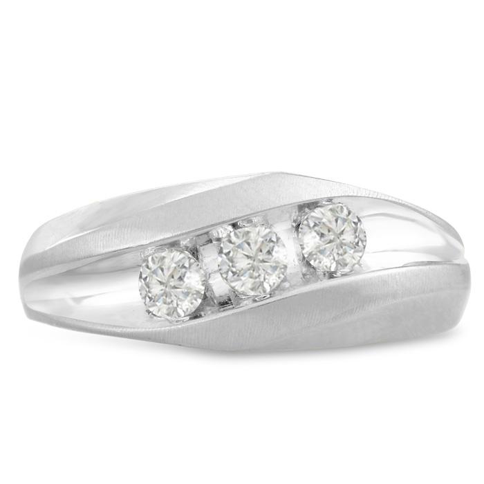 Mens 3/4 Carat Diamond Wedding Band in 14K White Gold, I-J-K, I1-