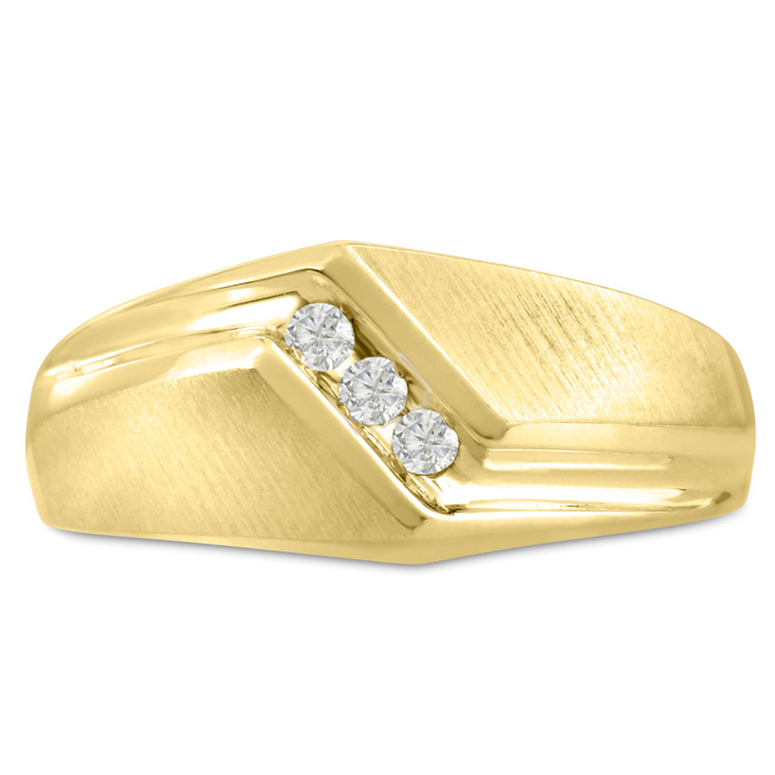 Mens 1/10 Carat Diamond Wedding Band in 10K Yellow Gold, I-J-K, I