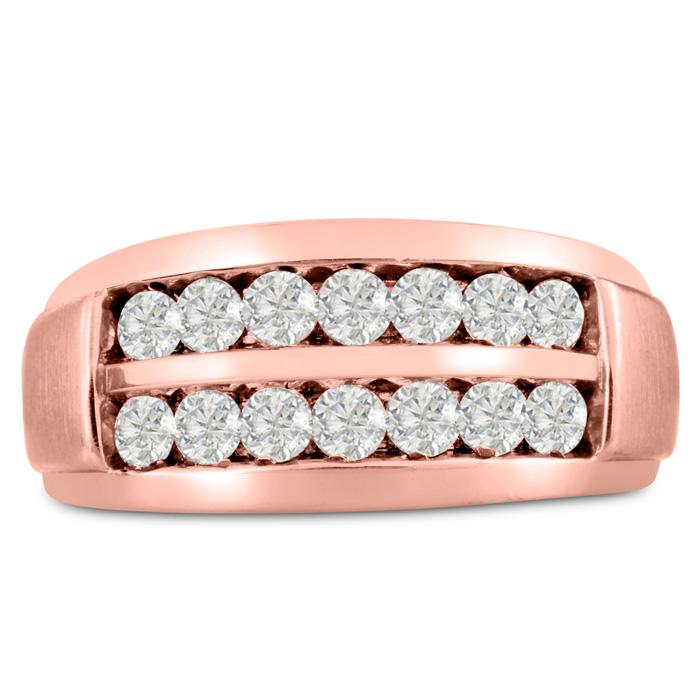 Mens 1 Carat Diamond Wedding Band in 10K Rose Gold, G-H, I2-I3, 10.56mm Wide by SuperJeweler