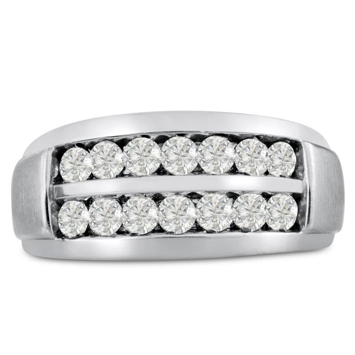 Mens 1 Carat Diamond Wedding Band in 14K White Gold, I-J-K, I1-I2, 10.56mm Wide by SuperJeweler