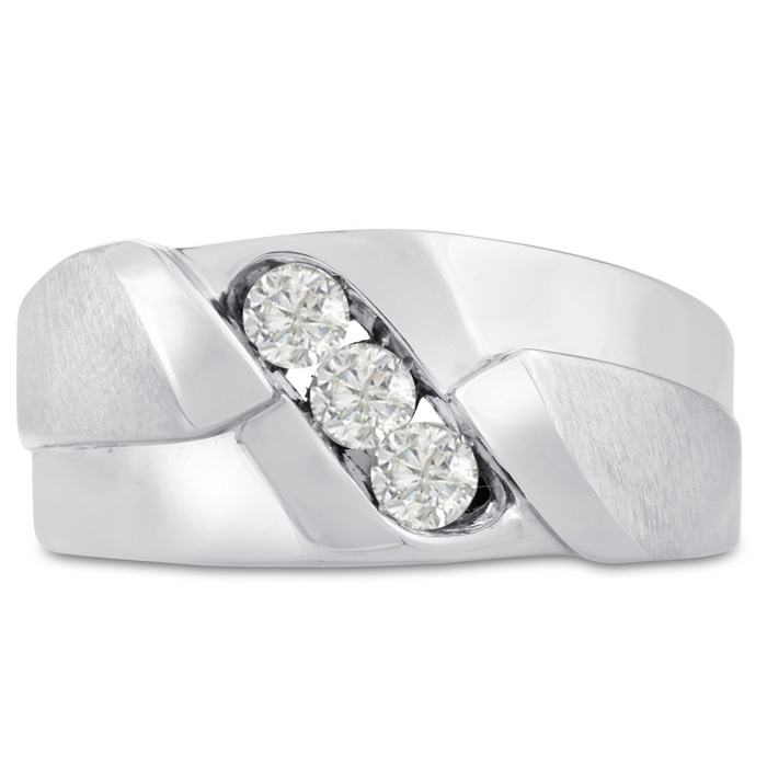 Mens 1/2 Carat Diamond Wedding Band in 14K White Gold, G-H, I2-I3, 10.30mm Wide by SuperJeweler