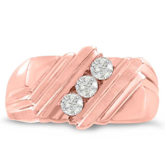 Mens 1/4 Carat Diamond Wedding Band in 10K Rose Gold, G-H, I2-I3,