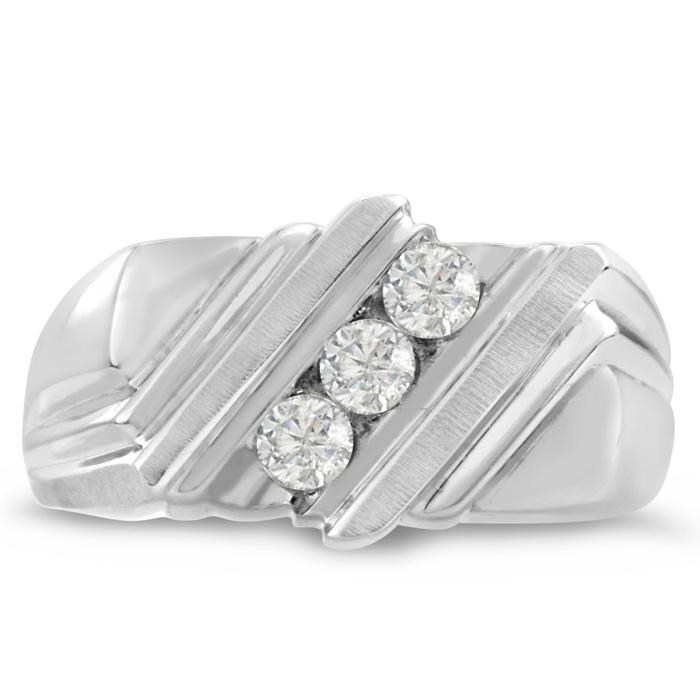 Mens 1/4 Carat Diamond Wedding Band in 14K White Gold, G-H, I2-I3, 10.19mm Wide by SuperJeweler