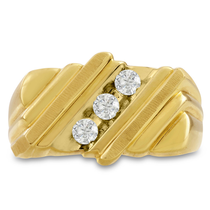 Mens 1/2 Carat Diamond Wedding Band in 10K Yellow Gold, I-J-K, I1