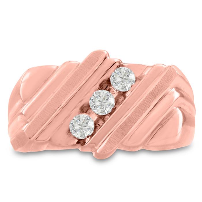 Mens 1/2 Carat Diamond Wedding Band in 14K Rose Gold, I-J-K, I1-I