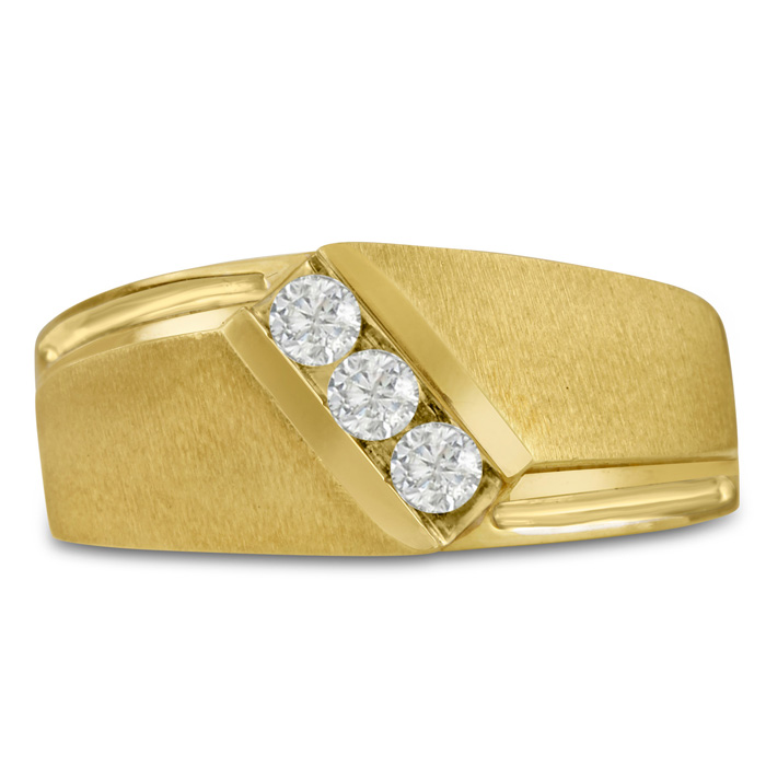 Mens 1/3 Carat Diamond Wedding Band in 10K Yellow Gold, G-H, I2-I