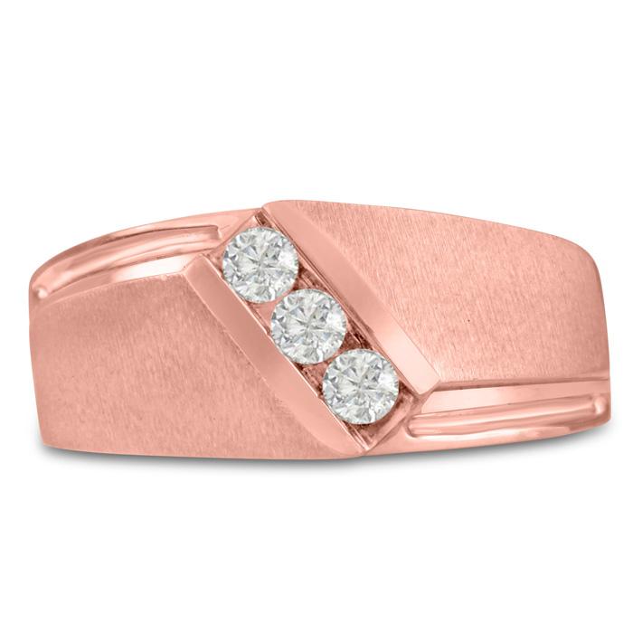 Mens 1/3 Carat Diamond Wedding Band in 14K Rose Gold, G-H, I2-I3,