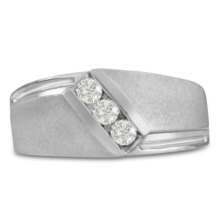 Mens 1/3 Carat Diamond Wedding Band in 14K White Gold, I-J-K, I1-