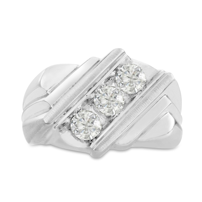 Mens 1 Carat Diamond Wedding Band in 10K White Gold, G-H, I2-I3, 15.71mm Wide by SuperJeweler