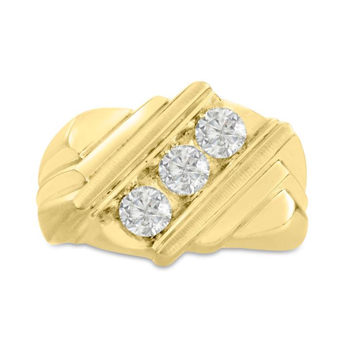 Mens 1 Carat Diamond Wedding Band in 10K Yellow Gold, I-J-K, I1-I2, 15.71mm Wide by SuperJeweler