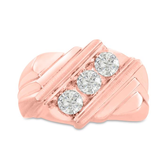Mens 1 Carat Diamond Wedding Band in 14K Rose Gold, G-H, I2-I3, 15.71mm Wide by SuperJeweler